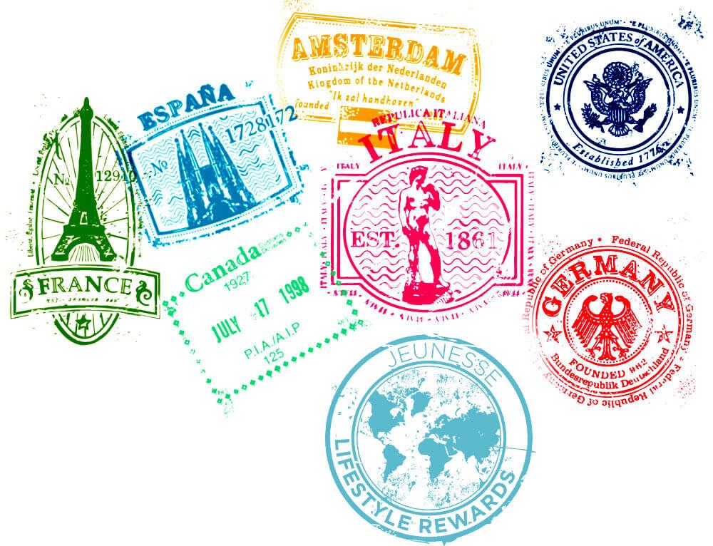 Jeunesse Global Travel Stamps